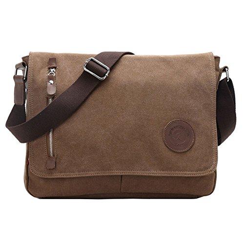 SANNU Unisex Umhängetasche Weinlese Segeltuch Schultaschen Kurier Laptop Crossbody Schlinge Daypack Bag (Kaffee) (Cross-body-schlinge)