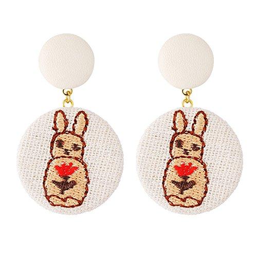 Dana Carrie Gewebe stickerei Kaninchen Ohr schrauben Mädchen temperament Persönlichkeit Ohrringe wild Ohren Home Decoration (Stickerei-gewebe)