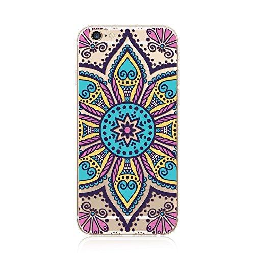 Coque iPhone 6 6s Housse étui-Case Transparent Liquid Crystal en TPU Silicone Clair,Protection Ultra Mince Premium,Coque Prime pour iPhone 6 6s-Mandala-New-style 23 12