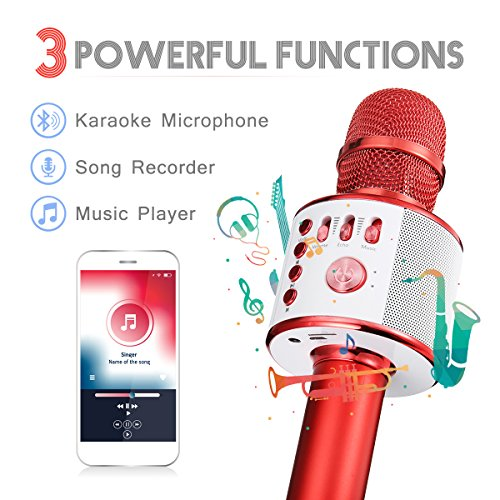 Bluetooth Karaoke Mikrofon, NASUM,tragbare drahtlose Mikrofon mit Lautsprecher für Erwachsene und Kinder für Sprach- und Gesangsaufnahmen,kompatibel mit Android /IOS, PC oder Alle Smartphone - 3