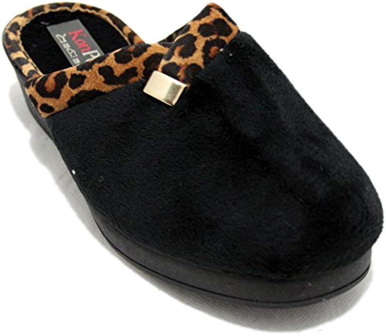 KonPas 3506 - Zapatillas cuña negras con bordes de leopardo