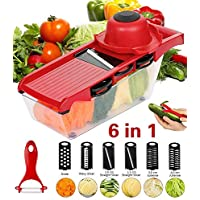 ADOV Mandolin Slicer, 6 in 1 Fruit and Vegetable Slicer, Multi Function Veg Cutter, Interchangeable Stainless Steel with Food Container, Peeler, Hand Protector, Julienne Slice for Potato Tomato Onion