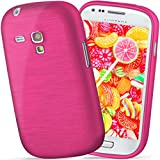 moex Samsung Galaxy S3 Mini | Hülle Silikon Pink Brushed Back-Cover TPU Schutzhülle Ultra-Slim Handyhülle für Samsung Galaxy S3 Mini S III Case Dünn Silikonhülle Rückseite Tasche