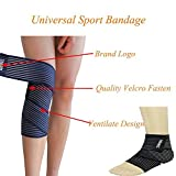 Liying® Universal Sport Compression Cotton Bandage Knee Thigh Ankle Elbow Wrist Calf Joint Support Stretchy Wrap Strap Brace (Blue)