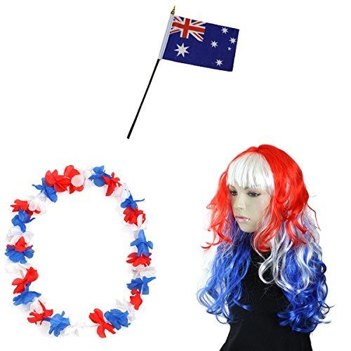 -Paket-4 WM Fußball Locken Perücke Hawaiikette Flagge Party Farbe Australien (Kostüme Perücken Australien)