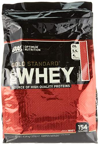 Optimum Nutrition Gold Standard Whey Protein Pulver (mit Glutamin und Aminosäuren. Eiweisspulver von ON) Delicious Strawberry, 154 Portionen, 4,54kg -