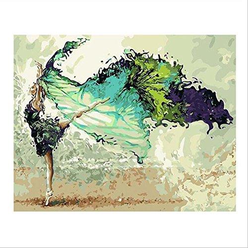 (NEWSTARTS Rahmen DIY Malen Nach Zahlen 40x50 Tänzerin Figur Malerei Acryl Handbemalt Für Wohnkultur Abstrakte Wandkunst Bild Kreative DIY Kunst)