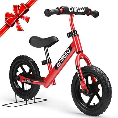 """Enkeeo - 12"""" Bicicleta sin Pedales, Bicicleta Infantil de Equilibrio (Para 2~6 Años Niños, Marco de Acero Carbón, Manillar y Asiento Ajustables, Capacidad 50kg, Alta Resistencia) (Rojo)"""