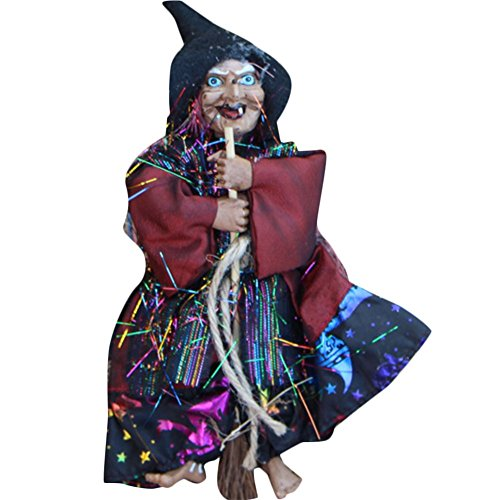 Haus Scary Halloween (iTemer Halloween Bar Dekorationen Szene Anordnung hängen Ghost Haus Horror Scary Besen Hexe 20cm Gelb/)