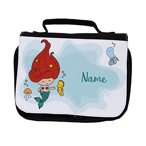 Striefchen® Waschtasche für Kinder mit Namen - Kleine Meerjungfrau - ideal für das Wochenende bei Oma & Opa