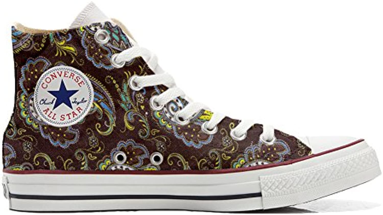 mys Converse All Star Hi Customized Personalisiert Schuhe Unisex (Gedruckte Schuhe) Brown Paisley