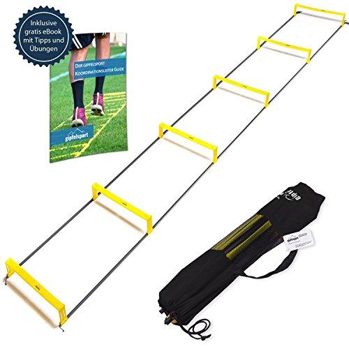 gipfelsport Koordinationsleiter mit Hürden Trainingsleiter Set, 3m mit Tasche | Geschwindigkeitsleiter | Agility Speed Ladder für Fussball, Fitness, Sport, Football, Handball | + Gratis eBook