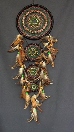 handgefertigt-multicolor-dream-catcher-acryl-garn-federn-glas-holz-perlen-amulett-indischen-talisman