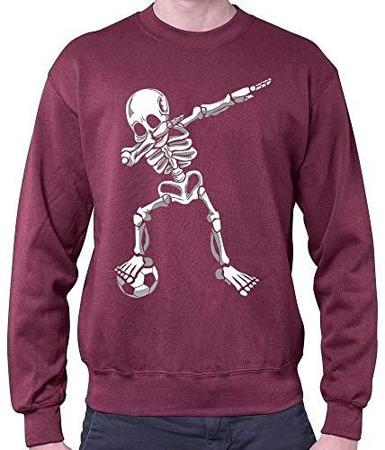 HARIZ Herren Pullover Dab Skelett mit Fussball Dab Teenager Trend Weihnachten Inkl. Geschenk Karte Wein Rot XL