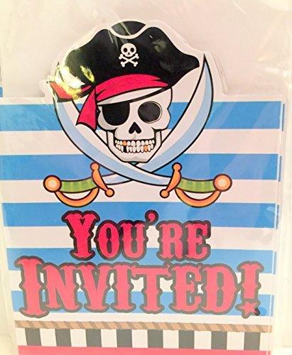Pirate Your Invited Invitation Cards with Envelopes (8 count) Happy Party