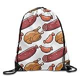 tgkze Unisex Sausage and Chicken Cartoon Pattern Print Drawstring Backpack Rucksack Shoulder Bags Gym Bag Sport Bag
