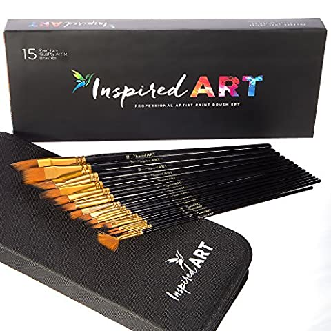 Paint Brush Set of 15 Art Brushes for Acrylic Painting, Watercolour, Oil and Gouache. Professional (4 Double Wall Tip)