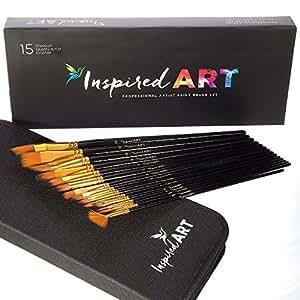Pennello set di 15pennelli per pittura acrilica, acquerelli, olio e a guazzo. Professional Artist Quality pennelli, setole no-shed. Trasporto protettiva, Gift Box & Care guide inclusi