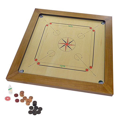 Garden Games Championship Carrom Board Set: 85cm x 85cm Board with Rosewood Edges for Championship standard rebound