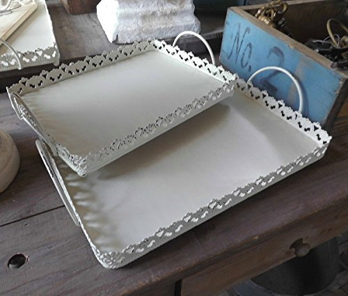 2er SET DEKO TABLETT METALL SHABBY WEISS TABLETTS NOSTALGIE LANDHAUSSTIL NEU (Metall-tablett-set)