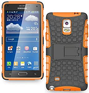 Heartly Rugged Armor Back Case For Samsung Galaxy Note 4 Sm-N910I Sm-N910Gzieins N910 - Mobile Orange