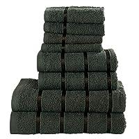 Todd Linens 8 Pcs Towel Set. 2 Bath Towels, 2 Hand Towels, 4 Flannel Face Cloth. GREY Bathroom Accessories, Dense Double Loop Cotton Towels. Hair Salon Towels, Guest Towels, Spa and Massage Towels
