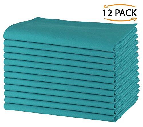 SweetNeedle - Packung mit 12 - 100% Baumwolle Übergroße Servietten 50 cm x 50 cm (20 Zoll x 20 Zoll), Teal - Schweres Gewebe für den täglichen Gebrauch mit Gehrung - Bulk Polyester-servietten