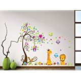 GoldenCart EXTRA LARGE Jungle Cartoon Cute Animals Wall Sticker For Kids Room, Nursery, Play School, Bedroom, Living Room, Hall, Home, Office, Cafe 0r Restaurant Decoration For Princess Girls, Prince Boys, Lovely Parents, Couples, Men, Women, Asian And An