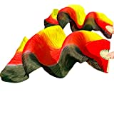 YI NA SHENG WU Colores de Raya Negros + Rojos + Amarillos de Danza del Vientre Abanicos de Seda 1 Mano Izquierda + 1 Mano Derecha (180X90 cm)