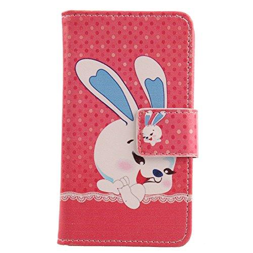 Lankashi PU Flip Leder Tasche Hülle Case Cover Schutz Handy Etui Skin Für Doogee Voyager2 Dg310 Happy Rabbit Design