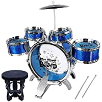 HS Enterprise™ Music Jazz Drum Set Big Size Musical Drum Set with 5 Drums, Cymbal and Chair Musical Toy (Multicolor)