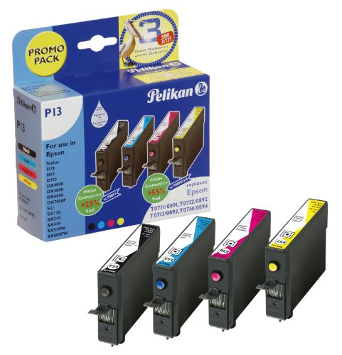 Preisvergleich Produktbild Pelikan Druckpatronen PromoPack P13 ersetzt Epson T07154010, BK PIG/C PIG/M PIG/Y PIG