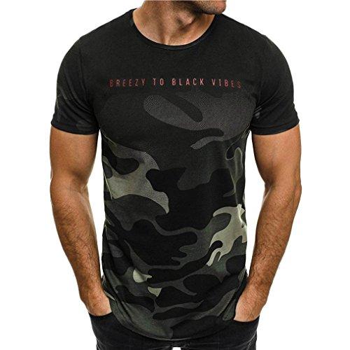 2018 Mode Camouflage T-Shirt Herren, DoraMe Männer Schlank Briefe Drucken Bluse Kurze Ärmel Sportlich Hemd Slim Fit Casual Persönlichkeit Tarnung Pullover (Grün, Asien Größe M) (Kurzarm-shorts Lacoste)