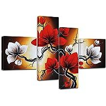 """Bilderdepot24 bastidor imagen """"magnolia M2"""" - 100x70cm 4 partes - Enmarcado listo P201"""