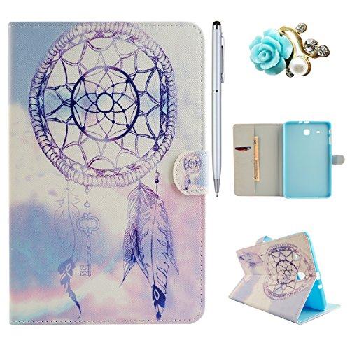 Felfy Slim Full Body Blue Himmel Dreamcatcher Muster PU Case Etui Schutz Hülle für Samsung Galaxy Tab E 9.6 Zoll T560 T565 + 1x Blau Blume Anti Stöpsel + 1x Silber Stylus -