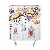 LFF- Wasserdichtes und Mehltau-Badezimmer-Vorhänge Japanische Art-Karikatur-Vogel-Duschvorhang-Starkes Badezimmer-Isolierungs-Teil-Vorhang (Größe : 180X200cm)