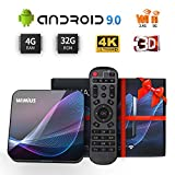 Android Box 9.0 WiMiUS K1 Max Box Android TV【4+32G】 RK3318 Quad-Core 64 bit,2.4G/5G Dual Wi-FI,LAN100M,H.265 Décodeur,USB3.0,Bluetooth 4.0,Android TV Box 4K Ultra HD [2019 Dernière] (Bleu)