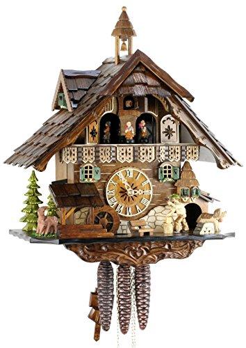 Orologio a cucù originale nero foreste cuculo orologio meccanico in vero legno 1giorno unità musica nuovo certificato vds eble-casa della foresta nera di 40cm 22304