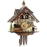 Original Negro bosques Cuco Reloj de madera auténtica, mecánica de unidad de 1día con música y certificado VdS–Oferta de relojes de Park Eble–Negro Bosque Casa de 40cm