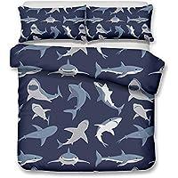 Lieblich CHAOSE Großer Weißer Hai 3D, Karikatur Haifisch Bettwäsche Set,Superweiche  Polyester Baumwolle