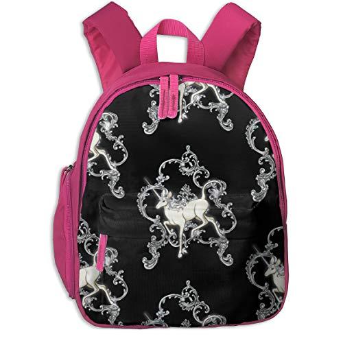 Kinderrucksack mädchen,Rokoko Einhorn_3959 - fimmy, Für Kinderschulen Oxfordstoff (pink)