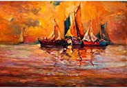 Pitaara Box Artwork Of Boats & Sea D5 Canvas Painting Mdf Frame 23.6 X 16