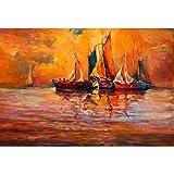 #10: Pitaara Box Artwork of Boats & Sea Canvas Painting MDF Frame