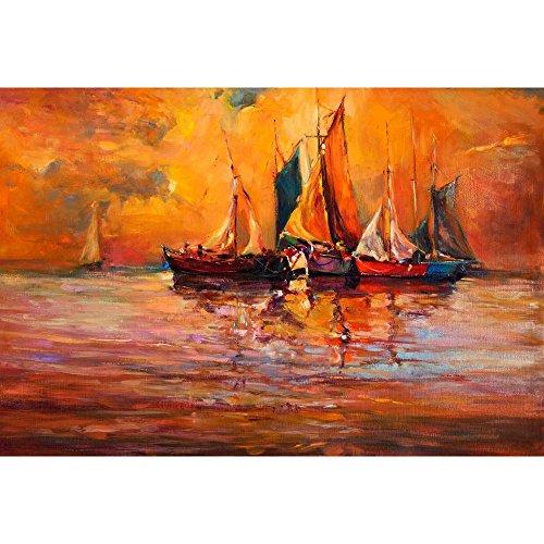 Pitaara Box Artwork Of Boats & Sea Canvas Painting 6mm Thick MDF...