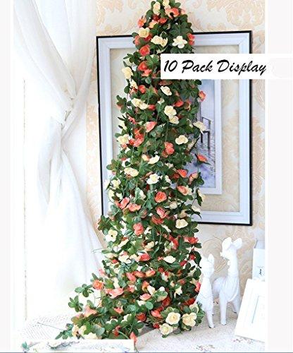 Amkun, 5 confezioni di piante rampicanti artificiali con fiori di rosa finti, lunghezza 12,5m, decorazione artistica per hotel, uffici, matrimoni, feste, giardini e progetti creativi champagne