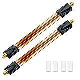 deleyCON 2x Fensterdurchführungen SAT Kabel 17cm flexibel / 26cm Länge / Kupplung Fenster & Türen vergoldet extrem flach geschirmt Klebepads - Kupfer