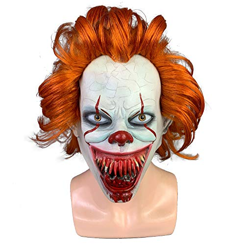 Adult Kostüm Pennywise Clown Deluxe - K-Y YK Pennywise mask It: Chapter Two Clown Halloween Fancy Dress Costume Accessory Adult Mask Horror Wig Cosplay Wig mask (B)