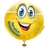 1 Stück 'Herzlich Willkommen - Emoticon' Rundballon, ca. 45 cm Durchmesser, ohne LOLLIPOP®-Gasfüllung