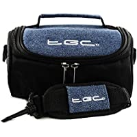 TGC ® Camera Case for Nikon Coolpix B500 with shoulder strap and Carry Handle (Black & Blue Denim)