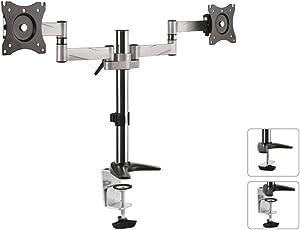 Maclean MC-714 2-Fach Tischhalterung Monitorarm 360° Dual Monitorhalterung Doppel Halterung Monitor LCD LED VESA 75x75 100x100